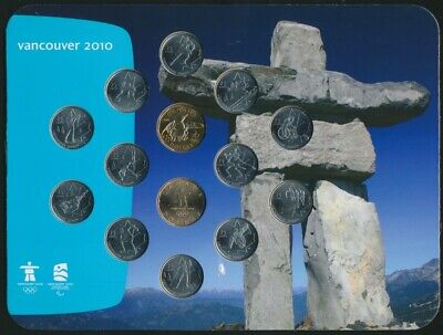 Canada 2010 $1 & 25c Olympic Winter Games 14 Coin Collectors Set