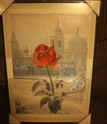 Rose Diamond Art Picture In Frame (A3 Size)