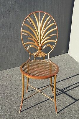 Vintage Italian Gold Gilt Metal Wheat Sheaf Accent Chair made Italy S. Salvadori