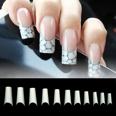 C Square Curve French Nail Well-less Acrylic Gel half False Nail Art Tips 500pcs