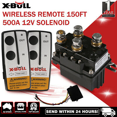 X-BULL12V 500A Winch Solenoid Relay Controller Twin Wireless Remote & Cover
