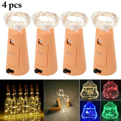 4PCS 6.6ft Wine Bottle Light Waterproof LED Cork Light Bottle Light