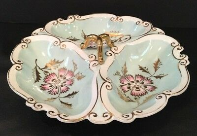 "VTG 1956 L&M Porcelain 3 Section 9"" Dish Heavy Gilt Colorful Design Scroll Edge"
