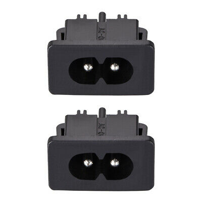 C8 Panel Mount Plug Adapter AC 250V 2.5A 2 Pins IEC Inlet Module Straight 2pcs