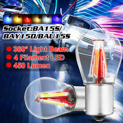 4 COB LED Filament 1156 BA15S Turn Light Stop Brake Rear Reverse Bulb Lamp