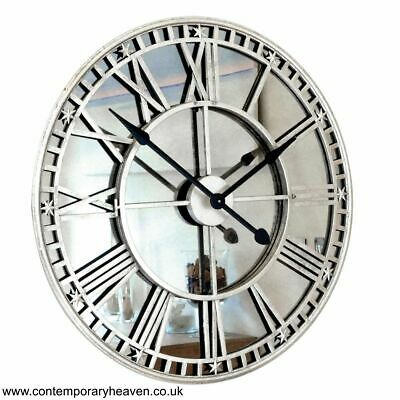 Mirror Silver Iron Roman Skeleton Wall Clock 82cm Dia x 5 cm Thick
