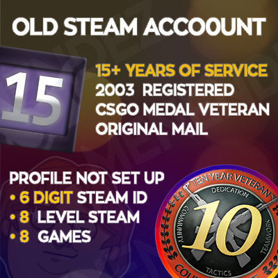 OLD STEAM ACCOUNT - 15 years old - 6 DIG - Unused - 8 Games - Instant Delivery