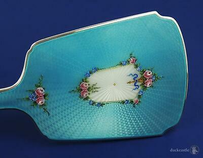 Stunning AMERICAN STERLING SILVER GUILLOCHE ENAMEL HAND MIRROR c1930 Thomae Co