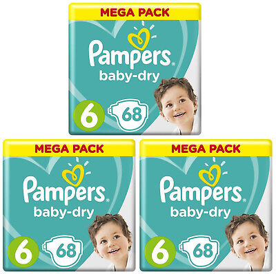 Lot 204 Couches Pampers baby-dry Taille 6 de 13 à 18kg Air Channels Mega Pack