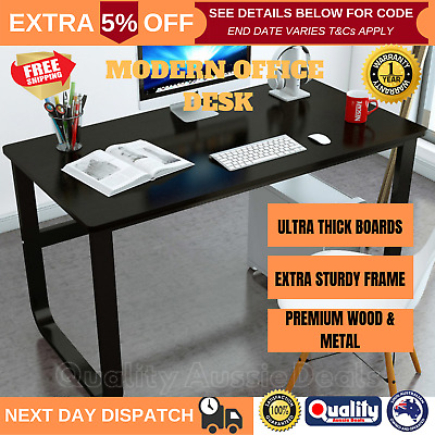 New Large Office Table Thick Wood & Metal Home Study Computer Desktop Desk Black