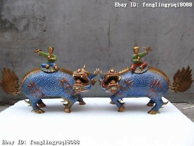 Chinese Pure Bronze cloisonne Two Boys Ride Fu Foo Dog kylin Guardian Lion Pair