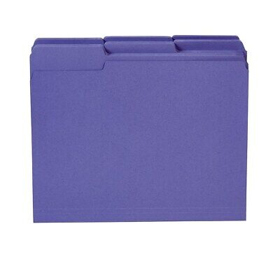 Staples Colored Top-Tab File Folders 3 Tab Purple Letter Size 100/Pack 535559