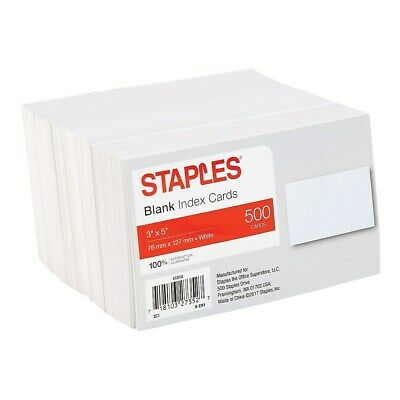 "Staples 3"" x 5"" Blank White Index Cards 500/Pack (51010) 233593"