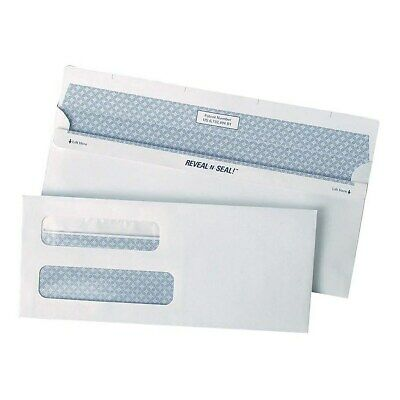 Staples Reveal-n-Seal Security Tinted Dbl Window #8 5/8 Envelopes White 500/Bx