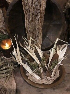Primitive Corn In Dried Husk Bowl Fillers 3 Grubby Blackened Wax  FALL Country
