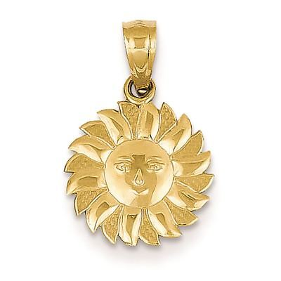 14K Yellow Gold Sun with Face Charm Pendant MSRP $92
