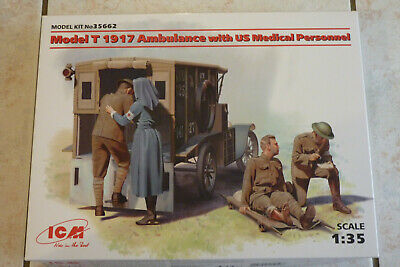 MAQUETTE 1/35 ICM FORD T AMBULANCE avec Figurines 14/18