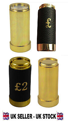 £1 / £2 Pound / 1 Euro Coin holder Gold Coloured or Leather Clad