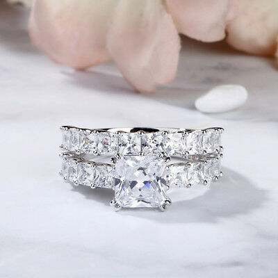 Fine Jewelry 3.00 Ct Princess Cut Diamond Bridal Wedding Engagement Ring Solid 14k White Gold To Be Distributed All Over The World