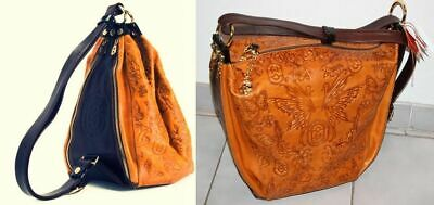 MARINO ORLANDI Embossed Butterfly Sling Bag/Backpack Convertible to Tote ~ITALY~