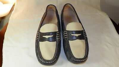 acba696e72b Classic Style Ralph Lauren Leather Driving Loafers Blue Bone Super Nice 10.5