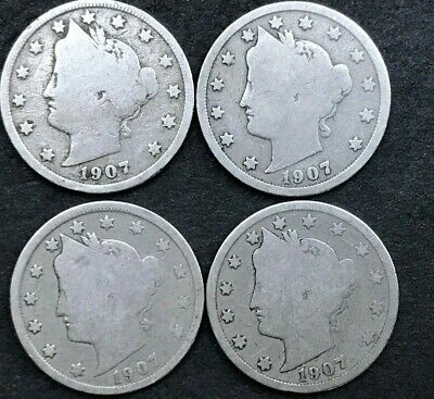 1907 Liberty Head Nickels, Lot of FOUR, Estate Coins, CH