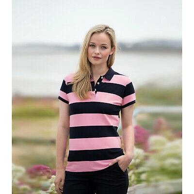 New Front Row Ladies Striped Cotton Pique Polo Shirt Cotton Sleeve Womens Sports