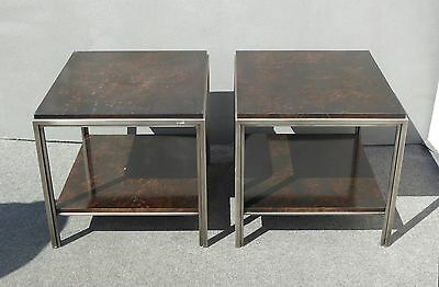Pair of Vintage Ethan Allen Industrial Style Wood & Metal End Tables