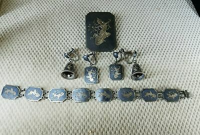 Antique Siam sterling silver, bracelet ,brooch 2 sets of earnings