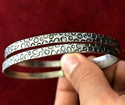 Set Of 2 ANCIENT VIKING Medieval SILVER-Mixed BRACELET museum Quality