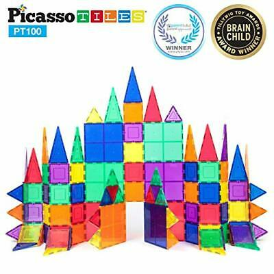 PicassoTiles 100 Piece Set 100pcs Magnet Building Tiles Clear Magnetic 3D Buildi