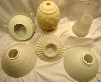 Lot of 6 Antique White Milk Glass Gas and Electric Light Fixture & Lamp Shades