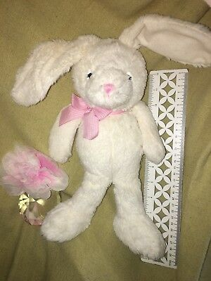 The Childrens Place  Soft Floppy White Easter Bunny Rabbit Pink Bow Plush Gift