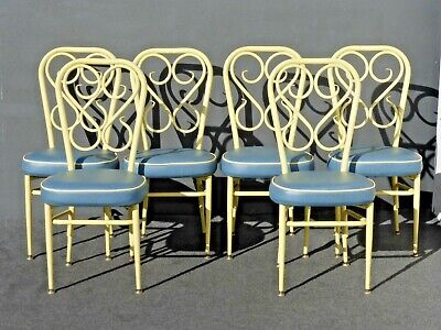Six Mid Century Modern 1950's Yellow & Blue Metal Dining Chairs French Country