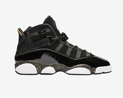 Boys Air Jordan6 Rings Black Metallic Gold Youth Ship Now Gs 323419-007 Og Vapor