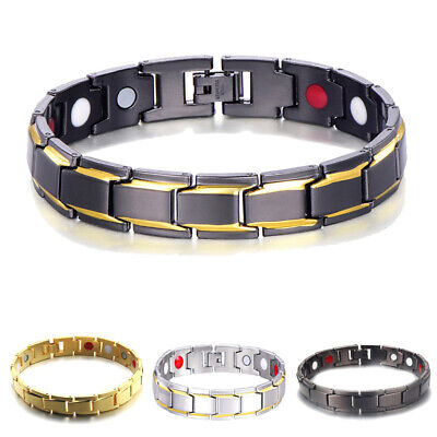 Mens Energy Bracelet Gold Plated Therapeutic Magnetic Health Care Hand Chain