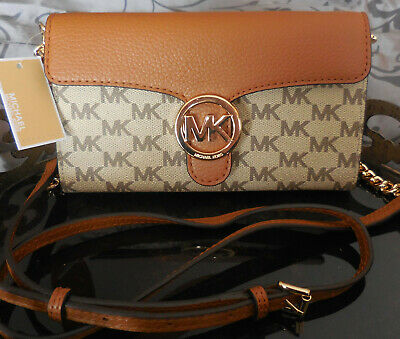 4e13afd5dfc2 Michael Kors~VANNA Large SIGNATURE Phone Crossbody Messenger Purse~BROWN~NWT $198