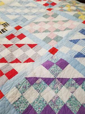 """Vintage Patchwork Quilt """"Wagon Tracks"""" Hand Quilted"""