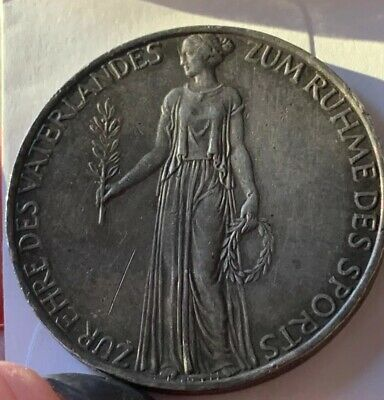 Table Medallion 1936 WW11 Germany Third Reich Berlin Olympics Goddess Silver
