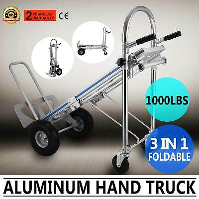 3 in 1 Aluminum Folding Sack Truck Hand Trolley Cart Car Home 1000Lbs Foldable
