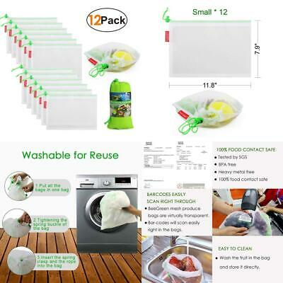 Reusable Mesh Produce Bags with Drawstring 12 Pack Small Scanable 12