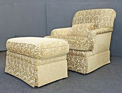 Designer French Country Gold & White Velvet Arm Chair & Ottoman w Scrolls