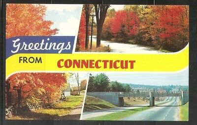 USA . Greetings From Connecticut .  Vintage postcard