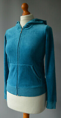 Girls Juicy Couture Teal Velour Hooded Zipper Jacket Age 14