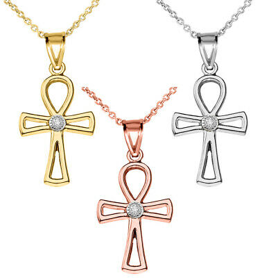 Solid Gold Diamond Ancient Egyptian Ankh Cross Openwork Pendant Necklace