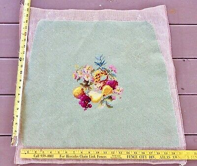 Vintage Completed Fruit & Flowers Petit Point Needlepoint Chair Seat Pillow #2
