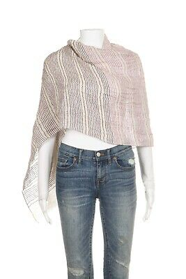 d21044b80eff PAUL SMITH Striped Scarf Rectangle 100% Linen Cream Purple Fringe Shawl  Cover-Up