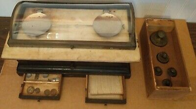Vintage Henry Troemner Apothecary Scale w/Glass Lid Drawers & Metric Weight Set