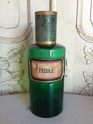 "Antique French Pharmacy Jar Rare Green Glass"" Fecule "" - DB673b"