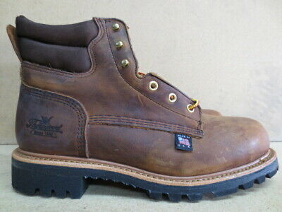 2a62dd31188 MENS THOROGOOD BROWN Leather Steel Toe Work Boot Size 9 Made in USA  #804-4551